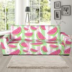 Watermelon Piece Stripe Green Pink Pattern Sofa Cover