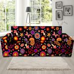 Abstract Flower Hippie And Galaxy Space Sofa Cover