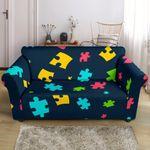Autism Awareness Colorful Design Dark Theme Sofa Cover