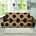 Tan And Black Polka Dot Artistic Theme Sofa Cover