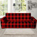 Red Plaid Overlap Theme Sofa Cover