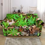 Camouflage Realistic Tree Fresh Leave Pattern Sofa Cover