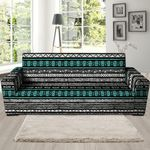 White And Turquoise Tribal Navajo Hand Drawn Background Sofa Cover