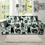 Cute Black Cat Cartoon Pattern Print Sofa Cover