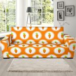 Orange And White Carrot Pattern Background Sofa Cover