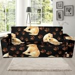 Golden Retriever Paw Pattern Background Sofa Cover