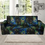 Feather Peacock Pattern Background Sofa Cover