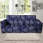 Dark Blue Pineapple Pattern Print Sofa Cover