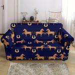 Horse Luxury Dark Blue Background Pattern Sofa Cover