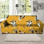Yellow Flower Background Sofa Cover