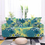 Mandala Style Blue And Yellow Flower Texture Sofa Cover