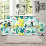 Pastal Parrot Bird Floral Pattern Theme Sofa Cover