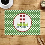 Custom Name Printed Placemat Table Mat Christmas Boy White Dots In Green