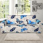 Butterfly Blue Pattern Background Sofa Cover