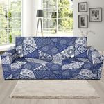 Blue Patchwork Pattern Background Sofa Cover