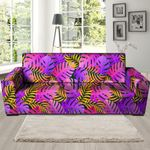 Neon Palm Leaf Tropical Edm Print Sofa Cover