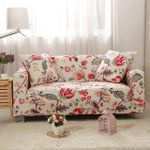 Beautiful Red Flower Garden Pattern Sofa Cover