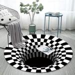 3D Bottomless Hole Optical Illusion Round Rug Home Decor