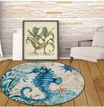 Seahorse Mediterranean Sea Life 3d Graphic Design Round Rug Home Decor