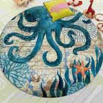 Octopus Mediterranean Sea Life 3d Graphic Design Round Rug Home Decor