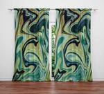 Marble Swirl Watercolor Boho Nautical Green Window Curtains