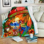 Margaritaville Baby Blue Parrot Sunset Beach Fleece Blanket