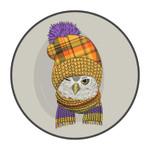 Winter Cartoon Lovely Owl Round Rug Home Decor