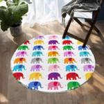 Colorful Elephant White Theme Round Rug Home Decor