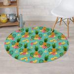 Slice Tropical Pineapple Turquoise Theme Round Rug Home Decor