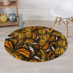 Monarch Butterfly Pattern Design Round Rug Home Decor