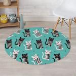 Love Turquoise Cat Design Round Rug Home Decor