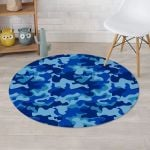 Mixed Blue Camo Pattern Round Rug Home Decor