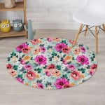 Charming Colorful Rose Floral Blue Theme Round Rug Home Decor