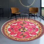 Pink Vintage Style Traditionall Pattern Round Rug Home Decor