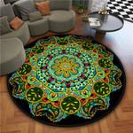 Multicolor Retro Abstract Artistic Round Rug Home Decor