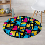 Abstract Psychedelic Graffiti Yellow Red Blue Theme Round Rug Home Decor