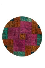Dark Pink Persian Hand Knotted Patchwork Round Rug Home Decor