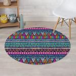 Multicolor Native Aztec Trippy Striped Design Round Rug Home Decor