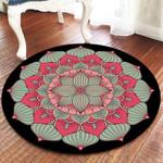 Pink Blue Lotus Pattern Round Rug Home Decor