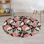 Pink Peony Skull Black Theme Round Rug Home Decor