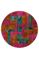 Dawn Persian Hand Knotted Patchwork Round Rug Home Decor