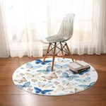 Butterfly Insect White Theme Round Rug Home Decor