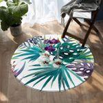 Floral Palm Leaf Round Rug Home Decor