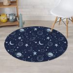 Doodle Galaxy Space Dark Blue Theme Round Rug Home Decor