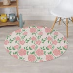 Pink Rose Flower Delicate Style Round Rug Home Decor