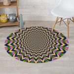 Psychedelic Blue Optical Illusion Charming Style Round Rug Home Decor