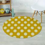 White Polka Dot Yellow Theme Round Rug Home Decor