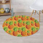 Neon Yellow Pineapple Hawaiian Design Round Rug Home Decor