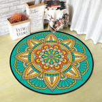 Lovely Teal Beautiful Vintage Pattern Round Rug Home Decor