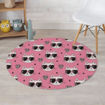 Pink Theme Cool Cats Wear Glasses Love Heart Round Rug Home Decor